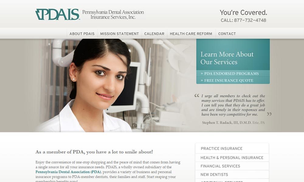 Custom Website Design for Pennsylvania Dental Association Insurance Services, Inc