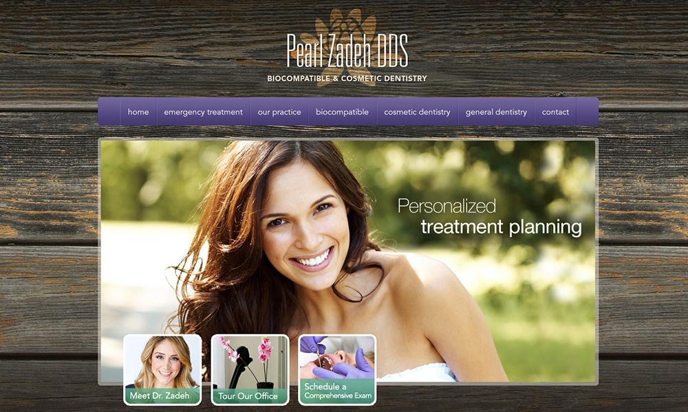 Dentist Web Design for Pearl Zadeh DDS