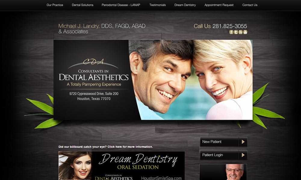 Dentist Website Template for Michael J. Landry, DDS, FAGD, ABAD and Associates