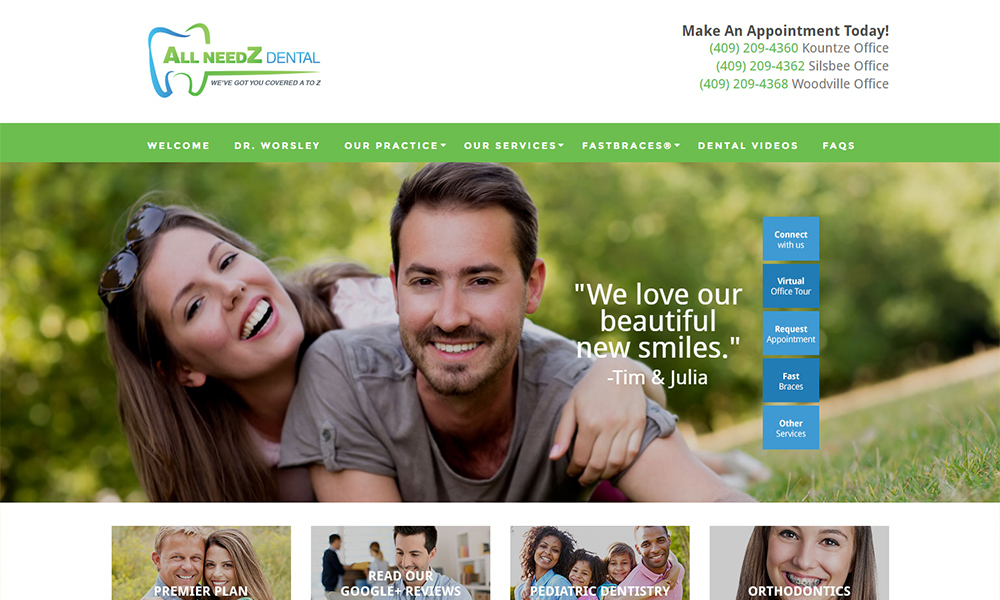 Dental Website Design for All NeedZ Dental